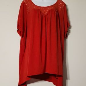 Torrid Red Lace Open Back Top Size 4/4x